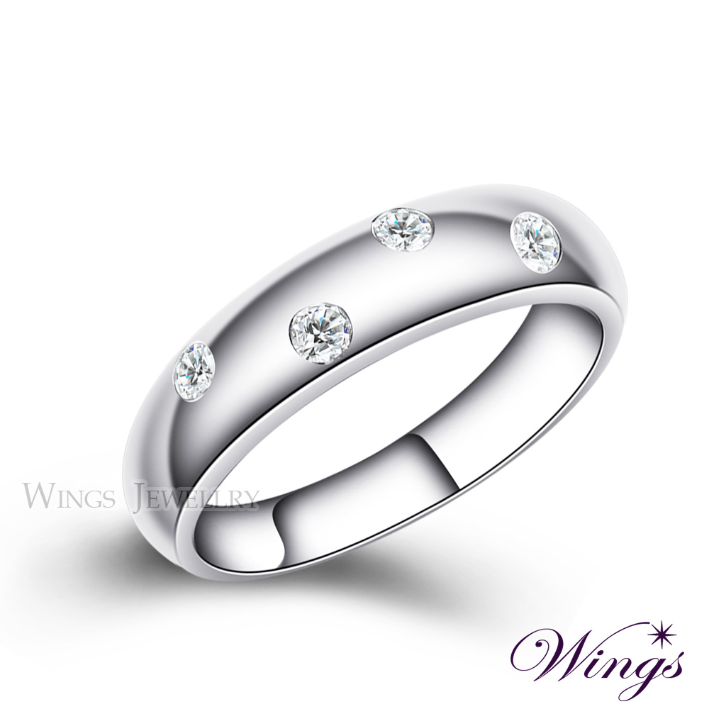 Wings 誓約 頂級八心八箭方晶鋯石 925純銀鍍白K戒指 (窄版) 可做對戒