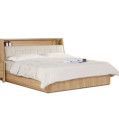 品家居  蜜妮6尺皮革雙人加大收納床台組合(不含床墊)-188x211x98.5cm免組