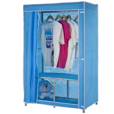 免工具 95公分寬-折疊式-鐵管吊衣櫥/吊衣架(附布套)4色可選