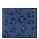 COACH 深藍色花朵圖樣PVC雙摺八卡短夾-附可拆名片夾