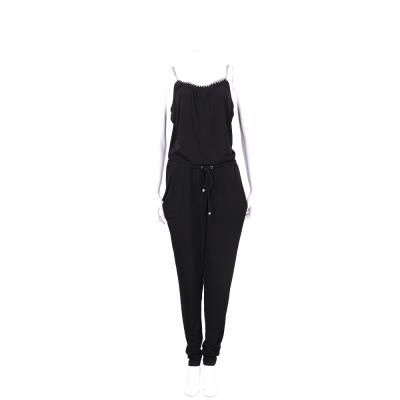 Michael Kors 黑色鍊飾邊綁帶連身長褲