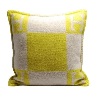 HERMES 經典H LOGO方型抱枕(灰X綠-展示品)