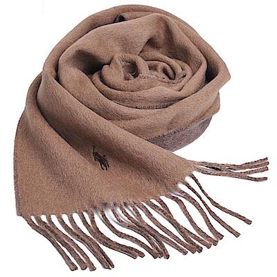 RALPH LAUREN POLO 義大利製刺繡LOGO雙面配色素面羊毛圍巾(駝/咖)