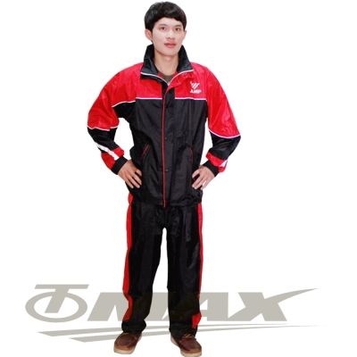 JUMP新TV2套裝雨衣+通用鞋套-黑紅