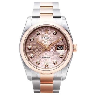 ROLEX 勞力士 116201 蠔式恆動玫瑰金LOGO鑽面腕錶-36mm