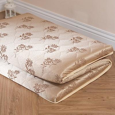 eyah宜雅 台灣製可折疊專利三折獨立筒記憶床墊-雙人加大6尺 深金緹花