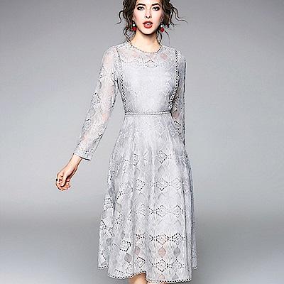ABELLA 艾貝拉 圓圈花邊菱狀蕾絲圓領中長裙洋裝(二色/S-2XL)