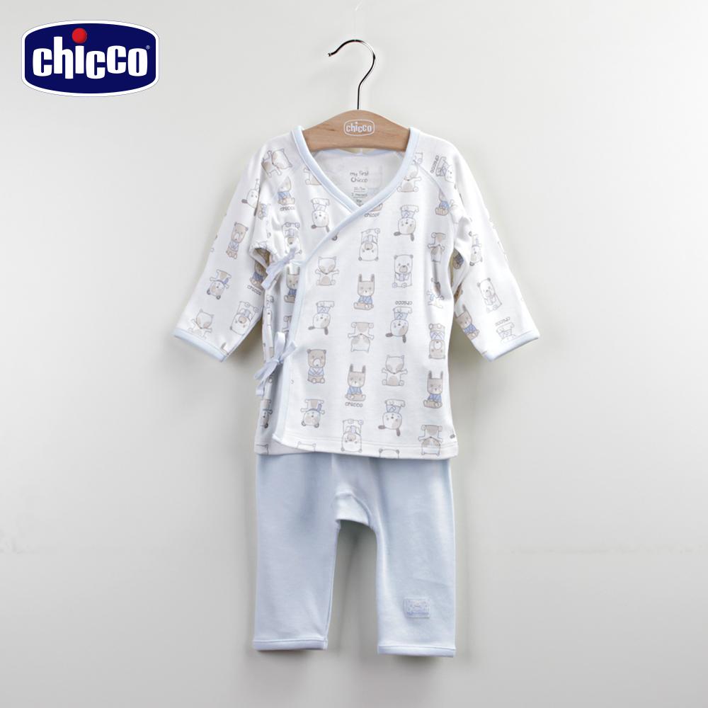 chicco動物肚衣+初生褲-藍(3-6個月)