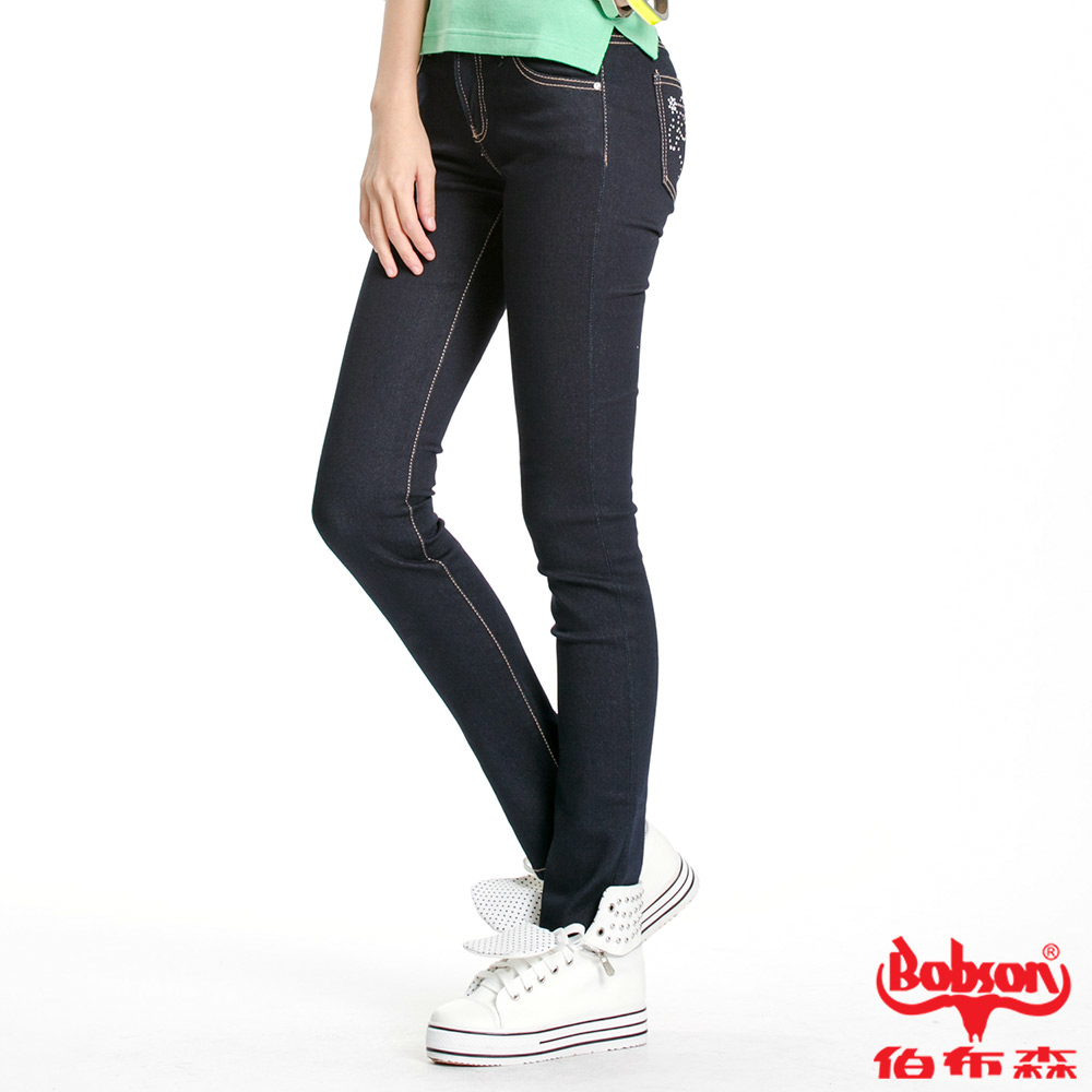BOBSON 女款超彈力貼腿小直筒褲(深藍52)