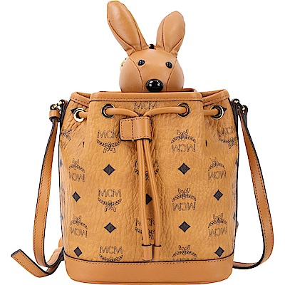 MCM RABBIT 棕色兔子玩偶造型束口水桶包(玩偶可拆當鑰匙圈使用)