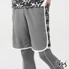 ibs搶眼迷彩科技轉印剪接吸排短褲-男-灰