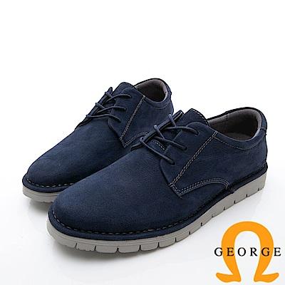 GEORGE 喬治-舒適系列 厚底真皮休閒鞋-寶藍