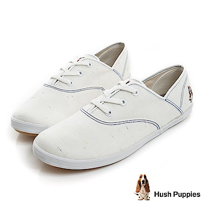 Hush Puppies 輕牛仔咖啡紗帆布鞋-白色