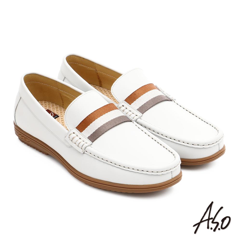 A.S.O 都會休閒 全牛皮彈力抗震直套式休閒皮鞋 白色