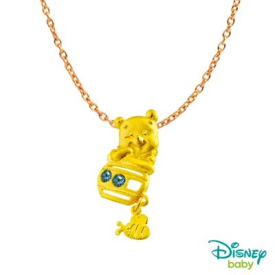 Disney迪士尼系列金飾 黃金/水晶墜子-甜滋滋維尼款 送項鍊