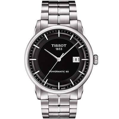 TISSOT T-Classic Luxury 機械腕錶-黑/41mm