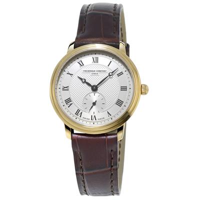 康斯登 CONSTANT SLIMLINE超薄系列小秒針女腕錶-咖啡/28.6mm