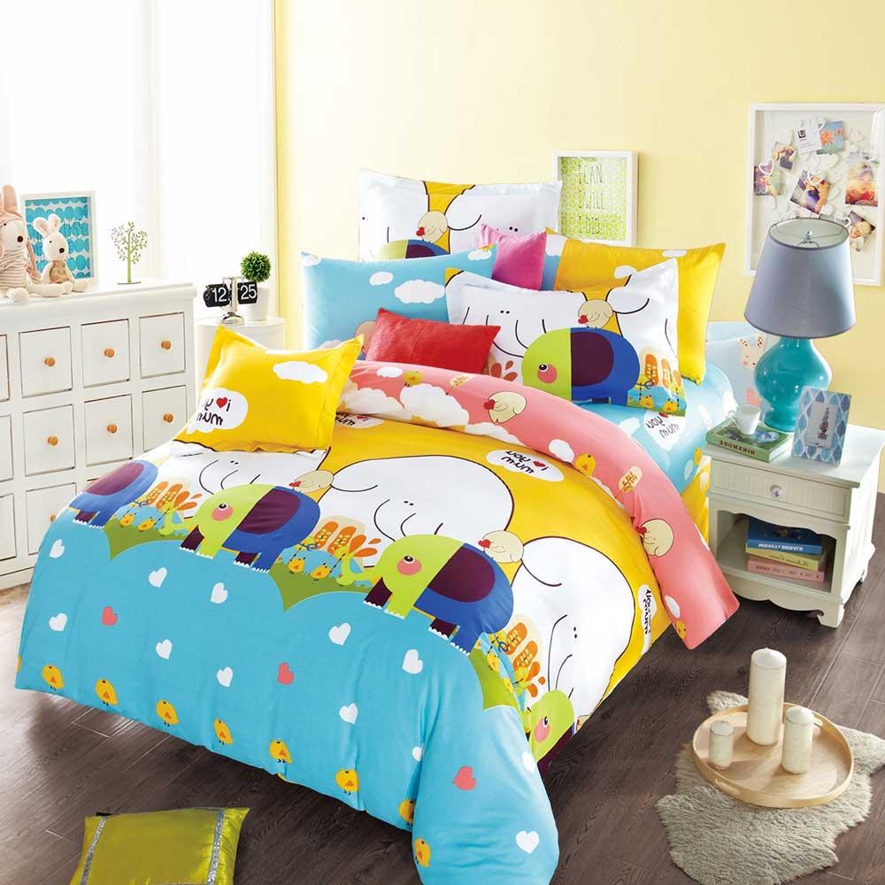 Ania Casa 台灣製 100%純棉 - 雙人床包枕套三件組 (小象精靈)