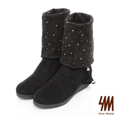 SM-台灣晶鑽-流蘇水鑽麂皮中低楔型跟軟筒兩用長靴-黑色