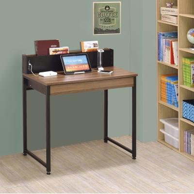 居家生活 巴斯曼 USB2.8尺胡桃多功能書桌