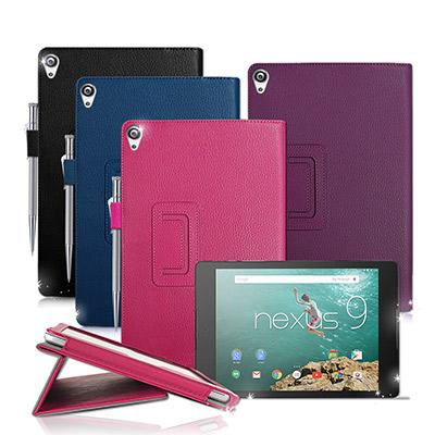 hTC & Google Nexus9 經典商務書本式 磁扣支架保護套