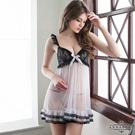 大尺碼 黑蕾絲奶白二件式柔紗睡衣 Annabery