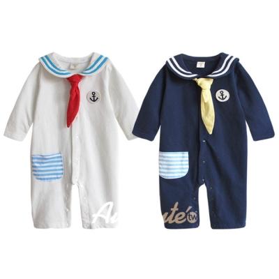 baby童衣  0-2歲寶寶純棉海軍長袖連身衣 前開扣附領巾37011