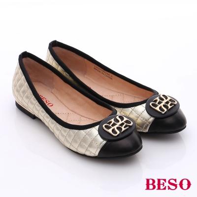 BESO-簡約知性-菱格真皮拼接金屬飾扣低跟鞋-金