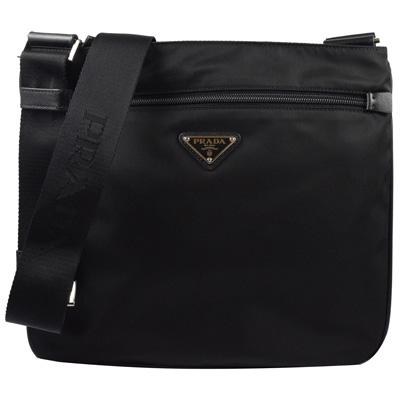 PRADA  經典三角LOGO尼龍帆布皮飾邊斜背包.黑