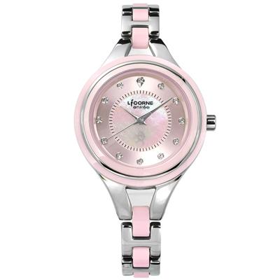 LICORNE力抗  entree 晶鑽不鏽鋼陶瓷手鍊式手錶-粉色/32mm