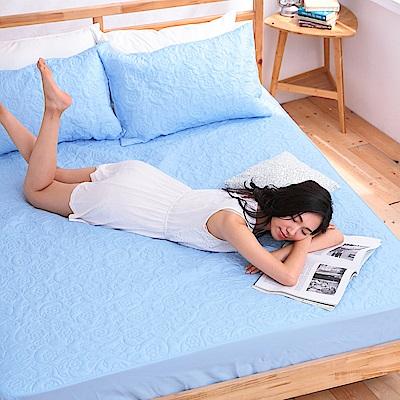 eyah宜雅 吸濕排汗大和防蟎抗菌雙效床包式保潔墊 雙人(王子藍)