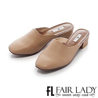 Fair Lady時髦休閒方頭設計粗跟涼鞋 棕