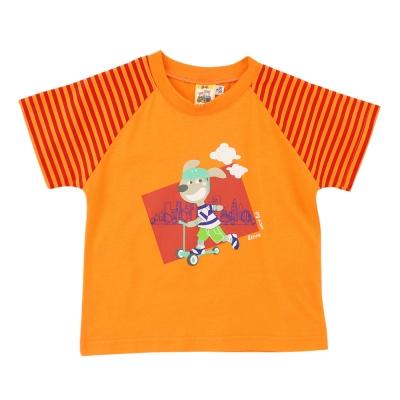 愛的世界 MYBABY 純棉圓領條紋袖口短袖T恤/1~3歲