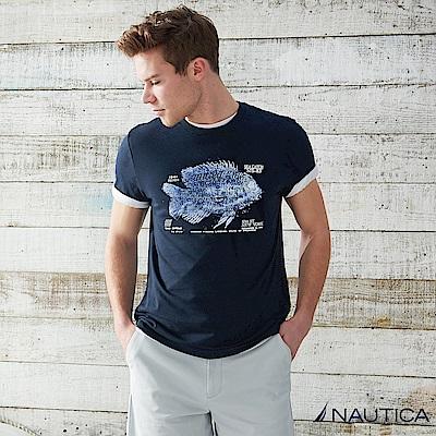 Nautica  純棉創意圖騰短袖T恤 -深藍