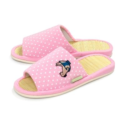 布安於室-兒童款小貓犬竹底室內拖鞋-粉紅2入