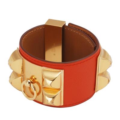 HERMES collier de chien金屬鉚釘山羊皮寬版手環(S-橘紅X金-Q年)