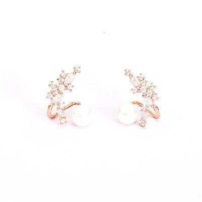 微醺禮物 正韓 鍍K金銀針 璀璨鋯石排列  人造珍珠 華麗 耳針 耳環