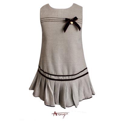 Annys高質素雅絨線條蝴蝶結背心裙洋裝*7234卡其