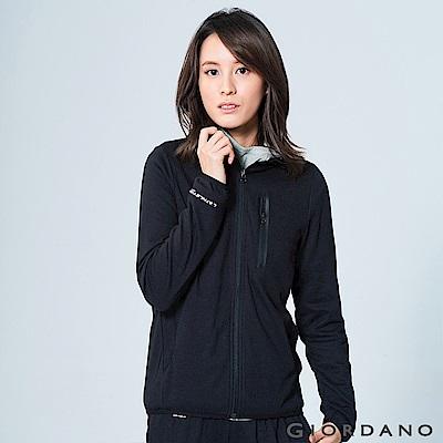 GIORDANO 女裝吸濕快乾運動休閒外套 - 09 標誌黑