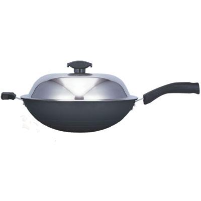 日本寶馬黑瓷釉不沾單把炒鍋 36cm JA-A-008-036