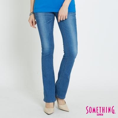 SOMETHING V-HIP皮飾提臀靴型褲-女-拔洗藍