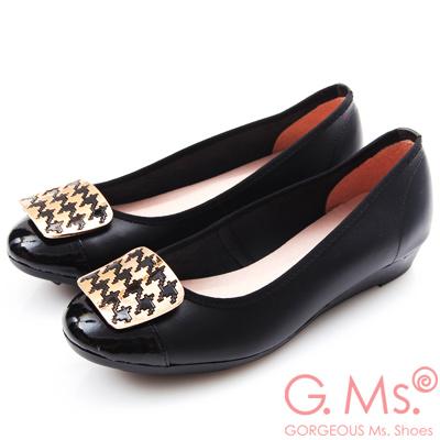 G.Ms. MIT系列-牛皮拼接漆皮千鳥紋金飾小坡跟鞋-黑色