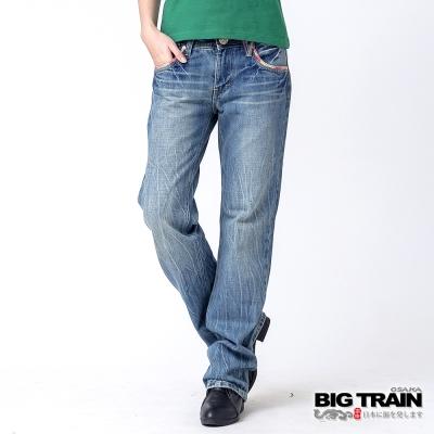 BIG TRAIN 配花布垮褲-女-淺藍