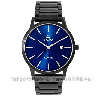 SIGMA 簡約藍寶石鏡面時尚男手錶-藍X黑/42mm