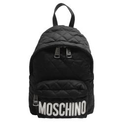 MOSCHINO 菱格紋縫線銀色LOGO尼龍後背包(小-黑)