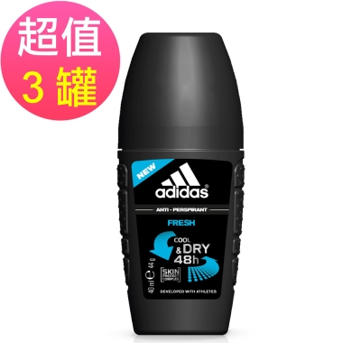 adidas愛迪達 男用制汗香體滾珠(清新冰氛)x3罐(40ml/罐)