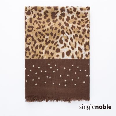 獨身貴族 原野對話豹紋圖騰拼接設計披巾(3色)