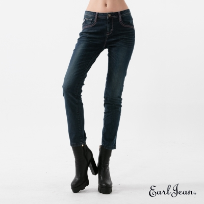 Earl Jean 魔鏡翹臀中腰緊身九分褲-深藍-女
