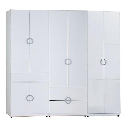 AT HOME-凱倫7尺白色三件組合衣櫃[中抽掀鏡+二抽+單抽](210*54*197cm