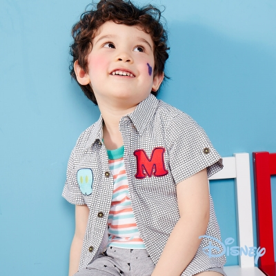 Disney 帥氣米奇格紋襯衫 米白